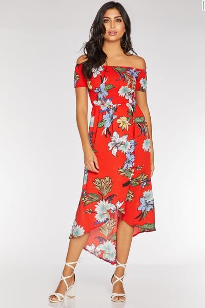 Orange Floral Bardot Dip Hem Dress